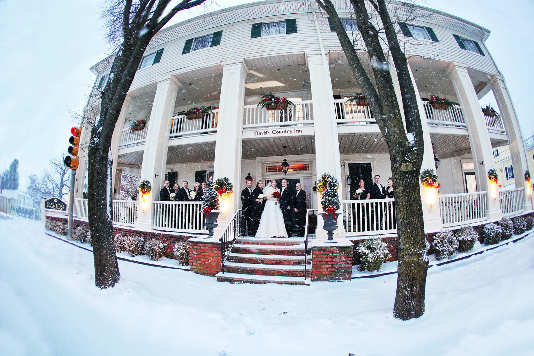 Davids Country Inn,Bridal Party in the Snow,Kathy Harris